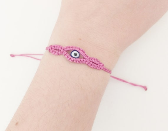 Pulsera protectora ojo turco hilo lila