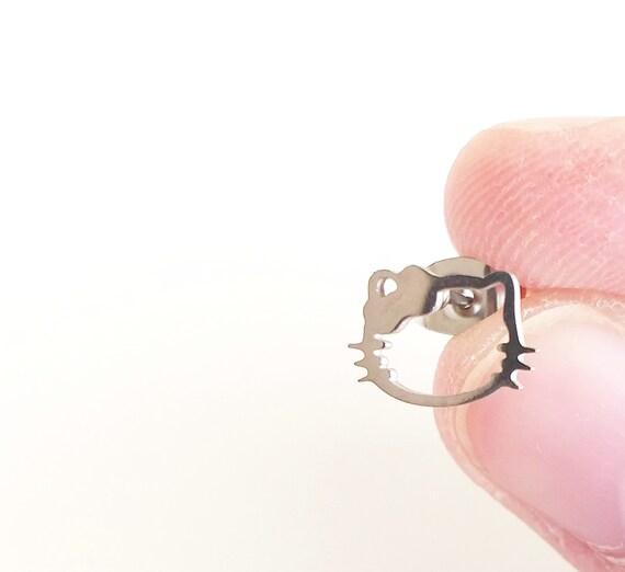 Pendientes mini kitty de acero