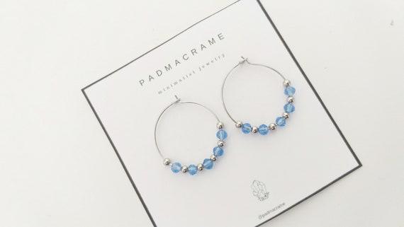 Pendientes acero crystal therapy: azul clarito
