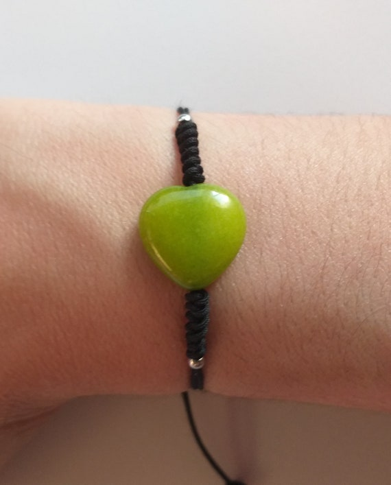 Pulsera de corazón de jade