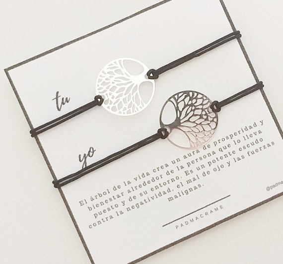 Pack pulseras para 2: árbol de la vida de acero.