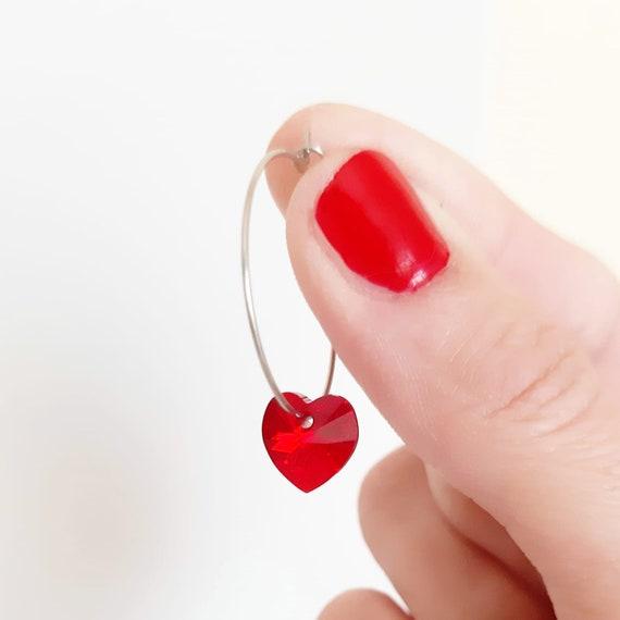 Pendientes hipoalergénicos de acero y cristal de swarovski: rojo
