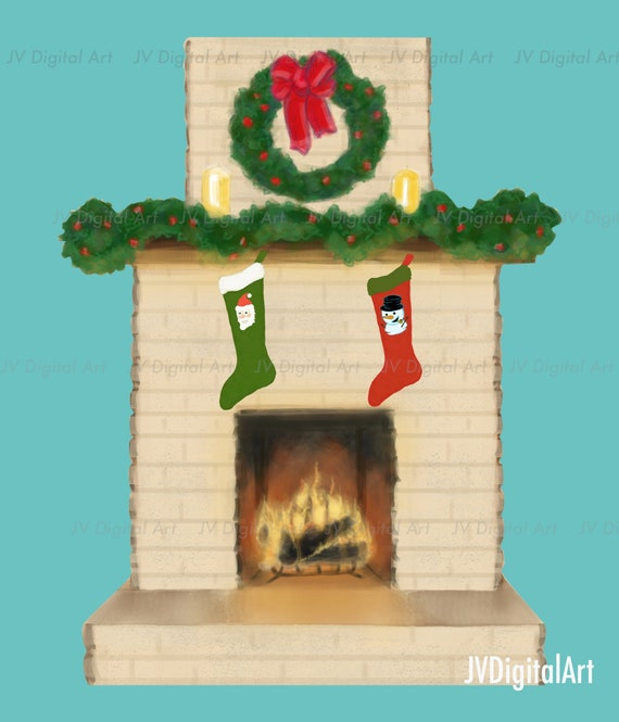 Fireplace Christmas Decorations.Fireplace Christmas Holiday Cozy Fire Yule Log Christmas Mantel Holiday Decorations Christmas Stockings Christmas Decorations