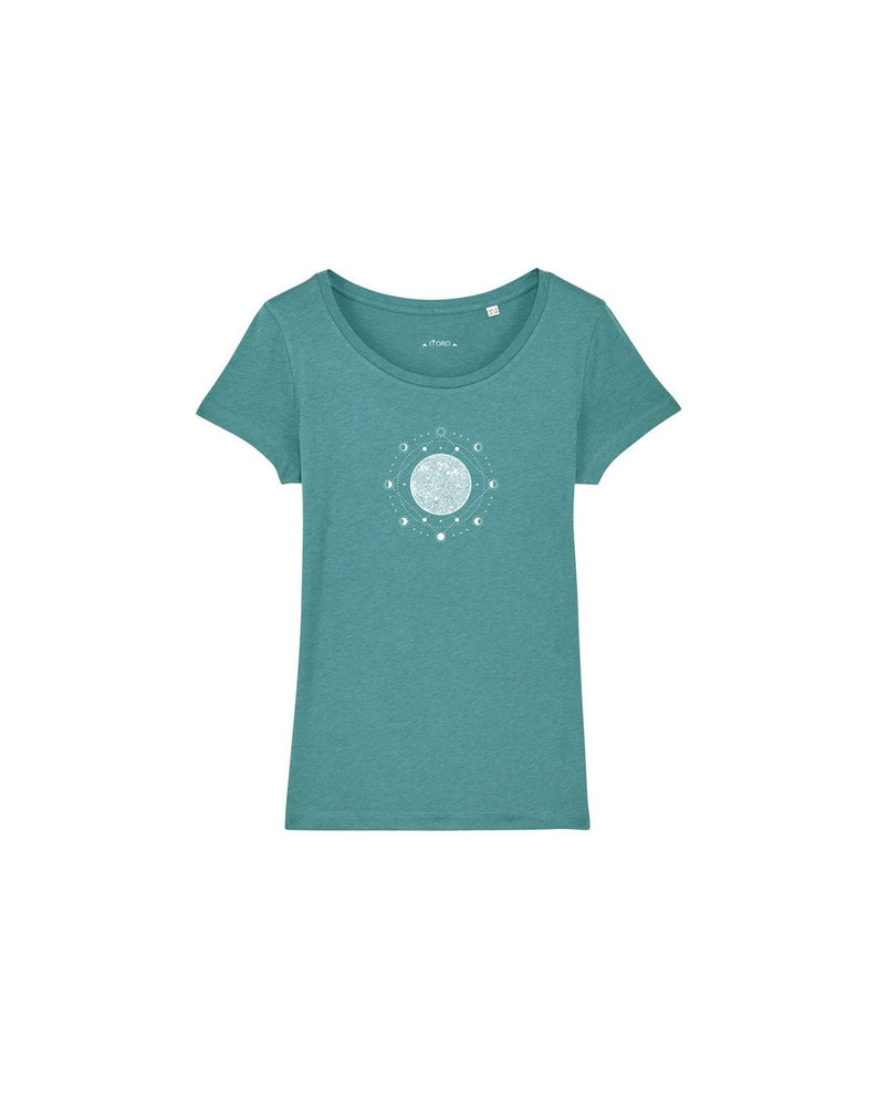 ready to ship women's bio T-shirt with moon phase print image 0