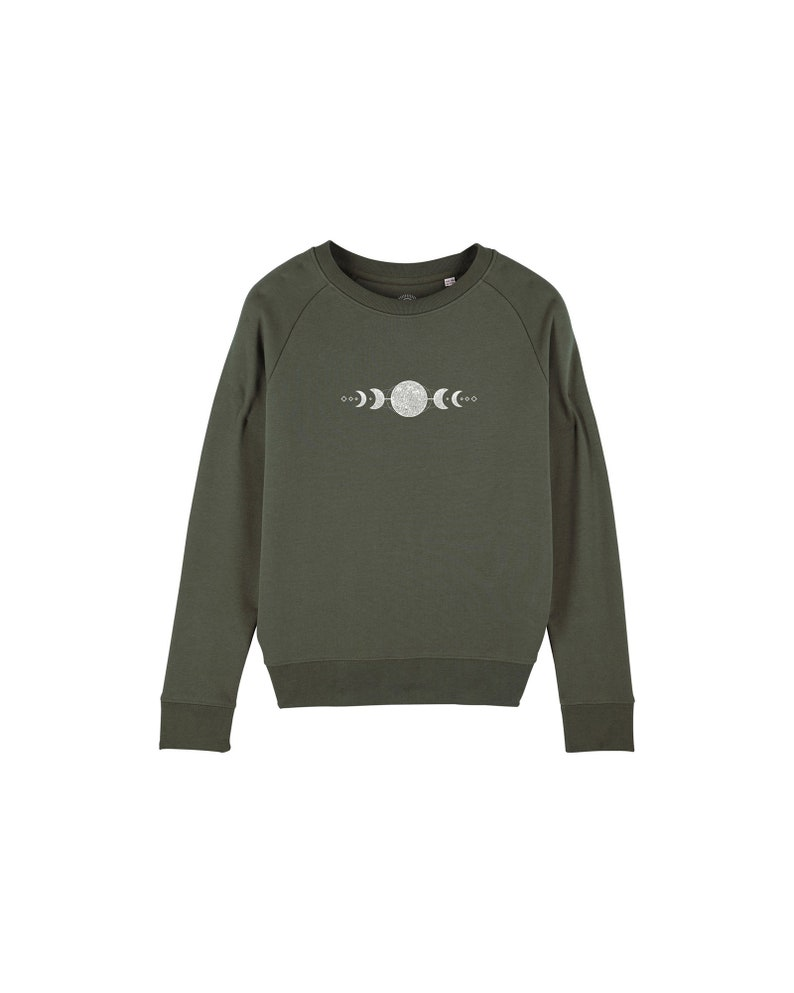ready to ship organic womens sweater with moon print  green / image 0