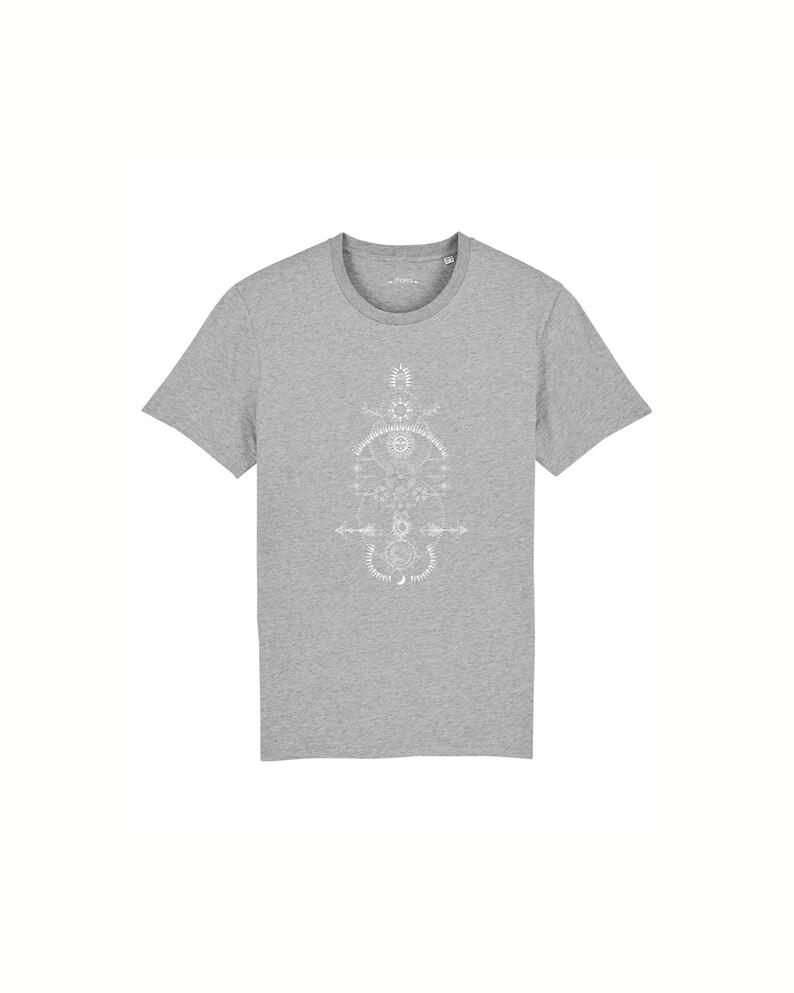 ready to ship organic men's t-shirt  cosmic print  grey image 0