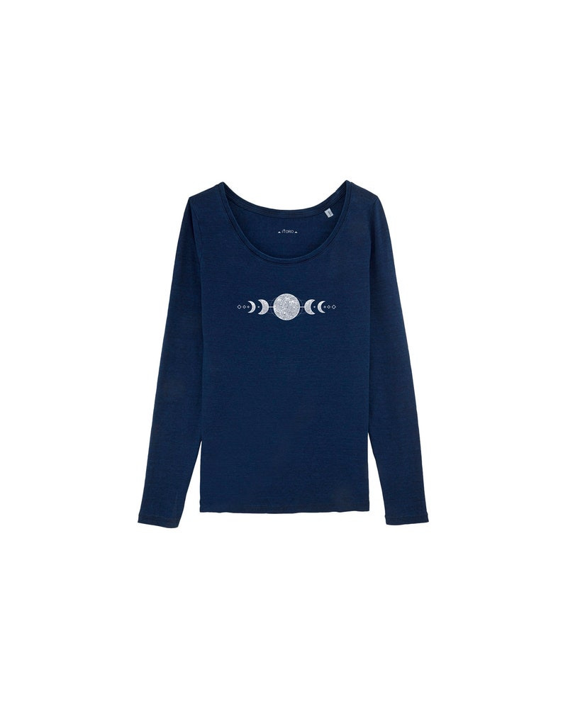 ORGANIC Women's Long Sleeve Shirt in Dark Blue with Moon image 0