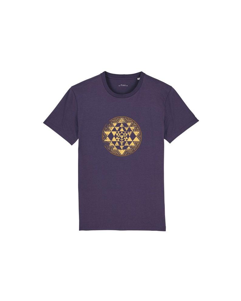 ORGANIC Men's T-Shirt  Sri Yantra Print purple image 0
