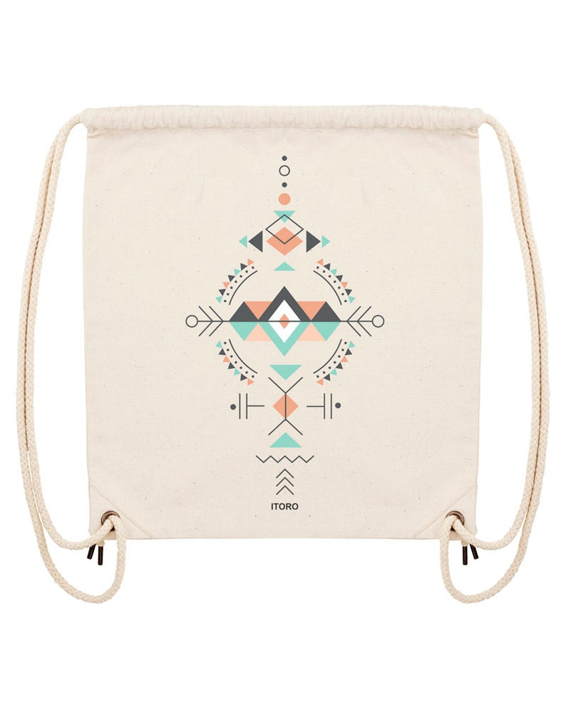 Gymbag with ethno design made of recycled cotton image 0