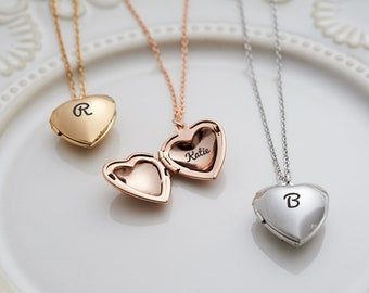 36b2bda585 Heart Necklace Personalized Heart Locket Engraved Heart Necklace Bridesmaid  Gift For Bride Gift For Women Gift Personalized Locket Necklace