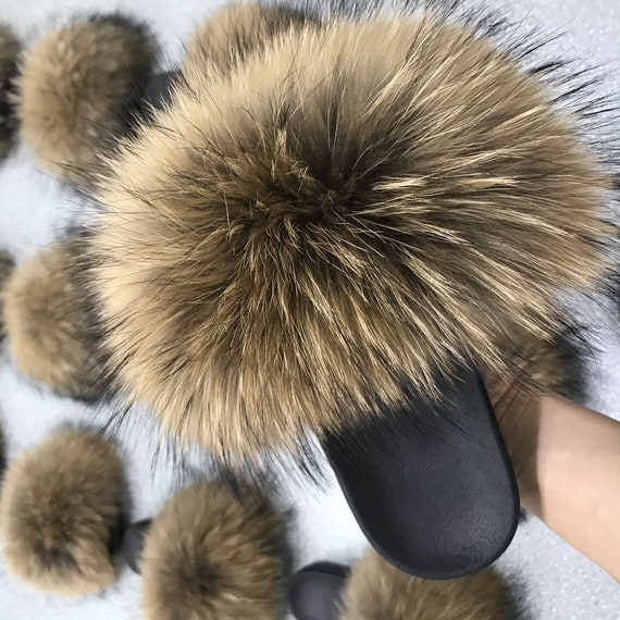 Fluffy Fuzzy Slides Kids Women Pom Poms Puffs Slippers Natural Brown Raccoon with black tips Natura Furry Sandals Slippers Big Large Furry