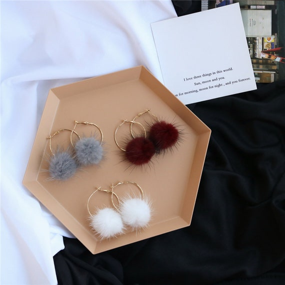 Furry Ball Earrings Real Fur Puffs Earrings Gold Big Ring Pompoms women Accessories