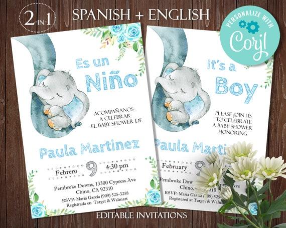 Elefante Invitación Para Niño Elephant Spanish Baby Shower Etsy