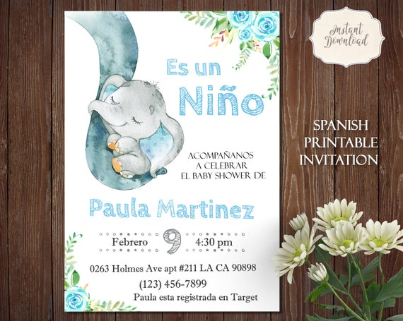 Elefante Invitación Para Niño Elephant Spanish Baby Shower Es Un Niño Es Niño Invitación Spanish Invitation Instant Download