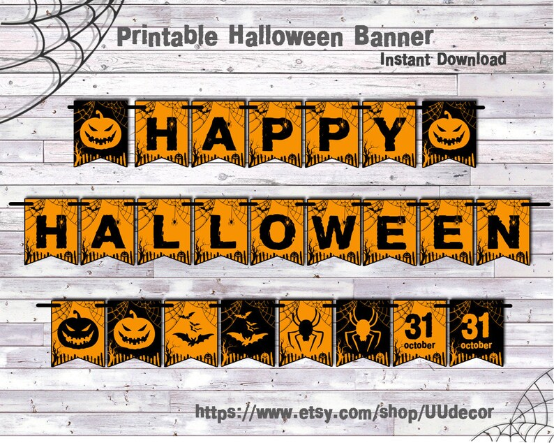 picture regarding Happy Halloween Banner Printable referred to as Pleased Halloween Banner, Halloween Banner Printable, Halloween Decorations, Halloween Decor, Halloween Garland