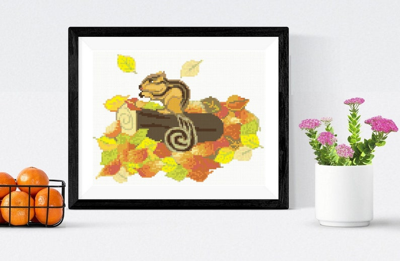 Funny thanksgiving gift Autumn cross stitch PDF pattern Cute little squirrel embroidery