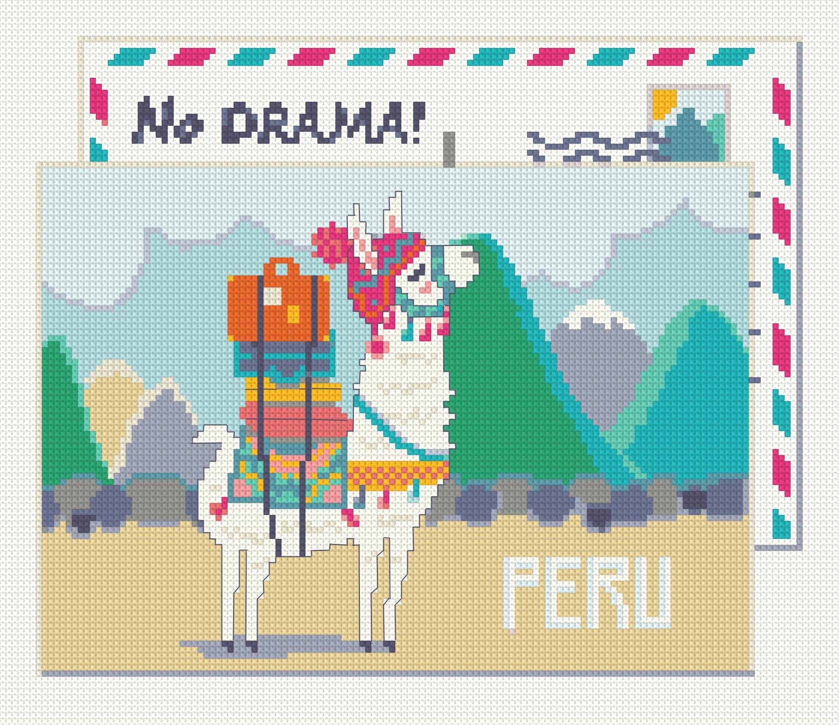 Cross stitch pattern PDF- No Drama - greeteng card from Mama Llama Funny  easy cross stitch Gift idea