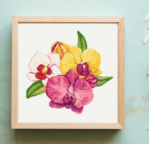 DIY Chart Counted Cross Stitch Patterns Needlework Embroidery 14 ct Orchids