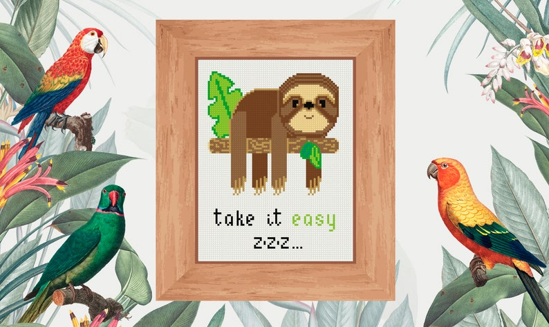 Take it easy sloth cross stitch PDF pattern Exotic cute lazy sloth art Abstract nature decoration Gift for her for him Diy cross stitch