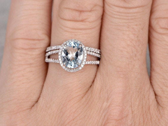 14k Solid Rose Gold Natural Aquamarine Diamond Ring Set Etsy