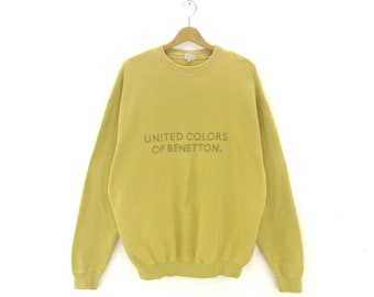 55214af88dc United Colours Of Benetton Italy Big Spellout Crewneck Green Colour  Embroidery Pullover Streetwear Jumper Vintage Man Sweatshirt