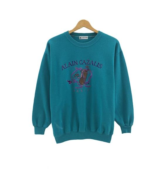 Vintage ALAIN CAZALIS PARIS Pets Cat Pink Sweatshirt Big Logo Spell Out Pullover Jumper Sweater