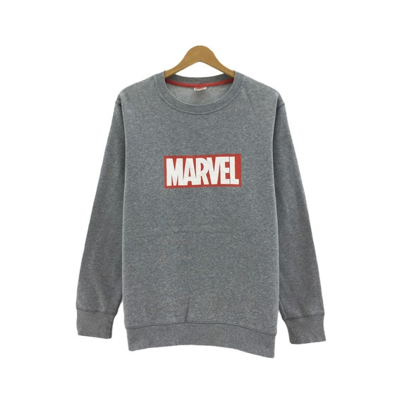Rare!!! Marvel Medium Logo Spell Out Crewneck Grey
