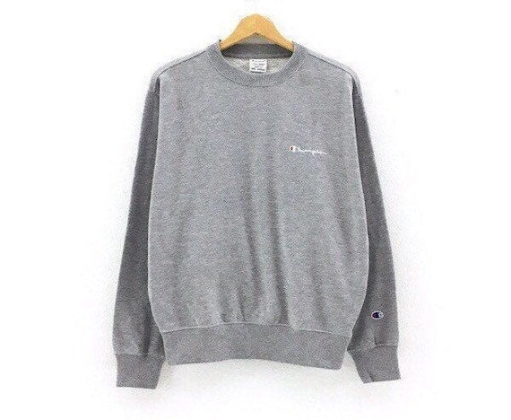 Rare!!! Champion Crewneck Small Logo Spellout Grey