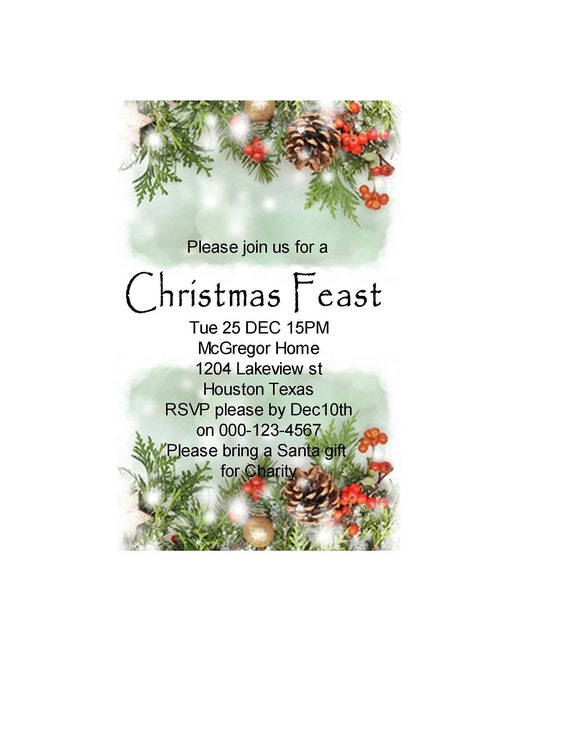 Christmas Feast Invitation Christmas Feast Card Invitation Christmas Dinner Holiday Invitation Christmas Dinner Holiday Feast Template