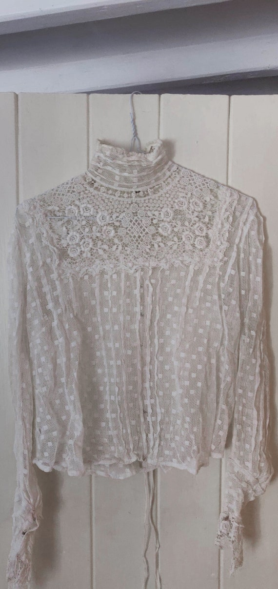 antique 1800s / 1900s white net lace bodice • edwa