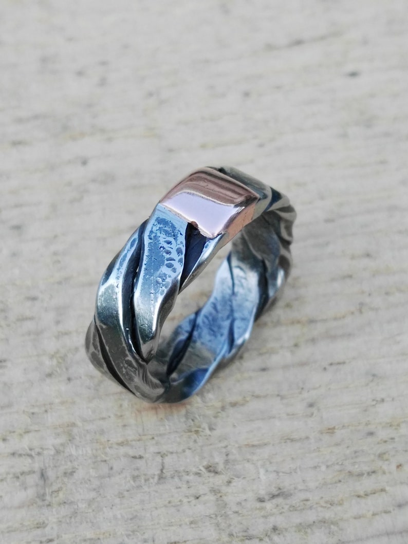 hammered ring Twisted stainless steel and copper ring hand forged ring band