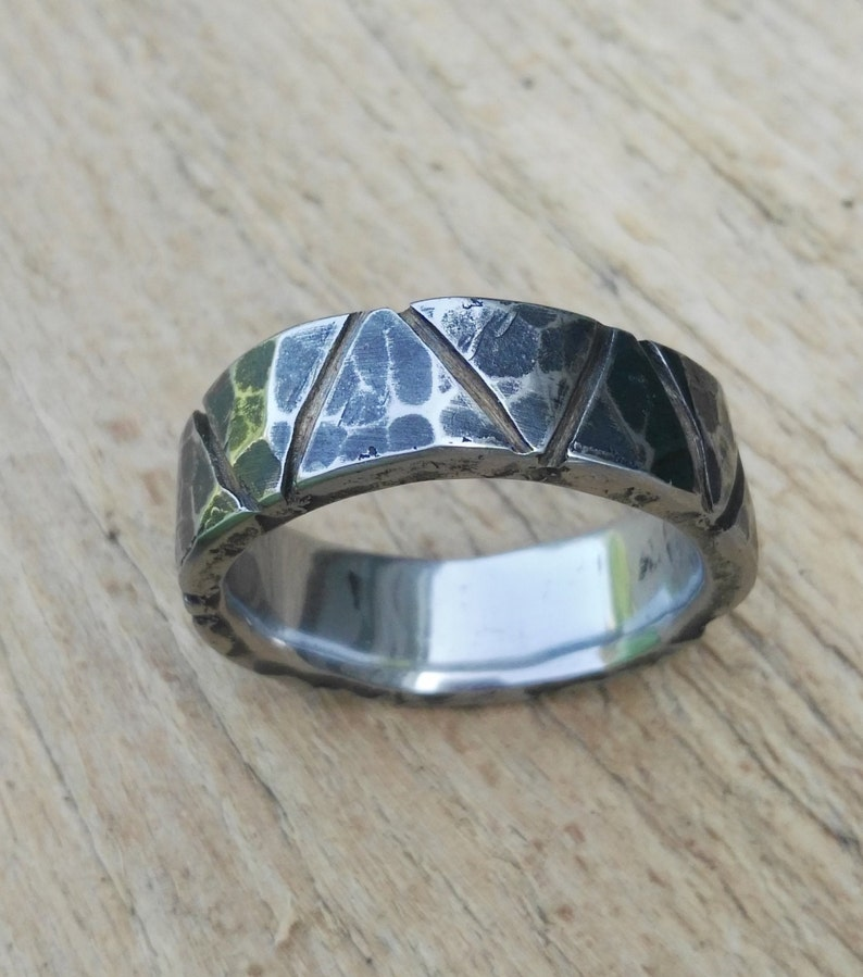 rustic ring band Size 14 Hammered stainless steel ring