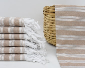 40x70 Decorative Towel Peshtemal Towel Bll-KtnSltn Striped Towel Organic Towel Bath Towel Wedding Gift Towel Brown Turkish Towel