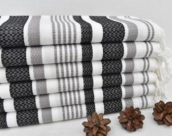 "Turkish Bath Towel, Organic Cotton Towel, Gift Towel, 70"" x 36"", Bath Towel, Black and Dark Gray Striped Towel, Handmade Towel Umt-Ucrnk_366"