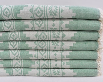 Organic Cotton Blankets, Turkish Blanket, 86x59 Bedspread, Green Blanket, Couch Cover, Throw Blanket, Gift Bed Cover Blanket, Osm-Klm-Pk_030