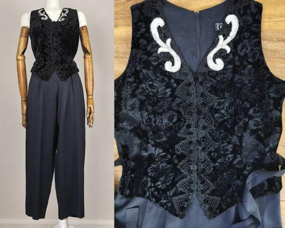 Vintage 80s Black Velvet Floral Jumpsuit Sequinned