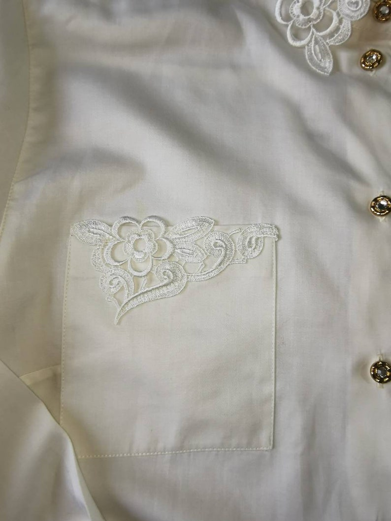 90s Shirt Button Down Lace Blouse Vintage Lace Collar Shirt