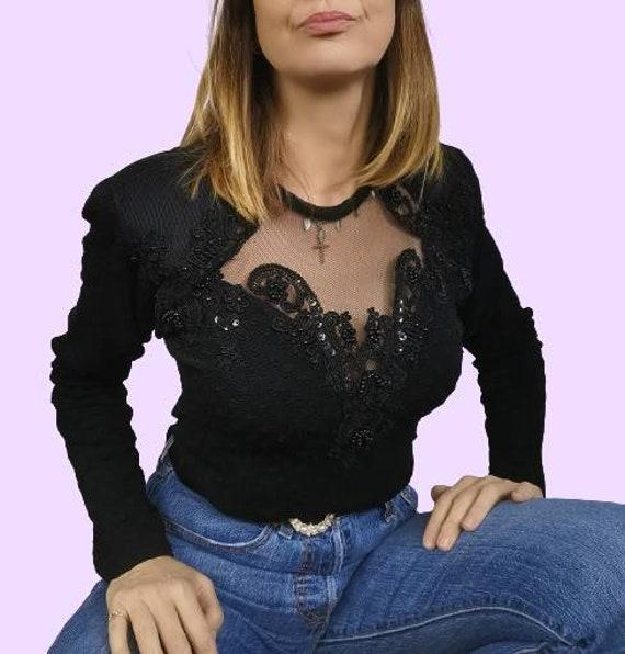 Vintage Black Embroidered Bodysuit - Illusion Leot