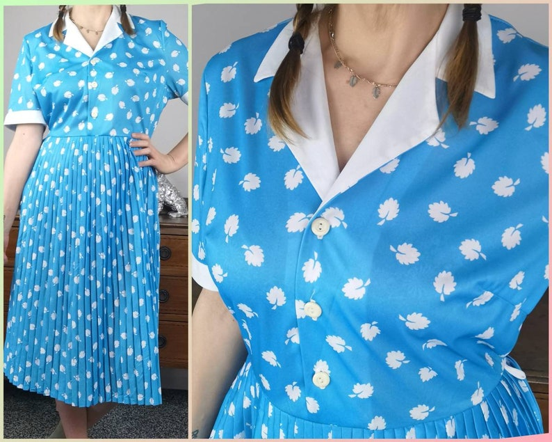 80s vintage aqua blue day dress white leaf print pattern wedding guest dress secretary white collar sundress UK 1214 US 1012