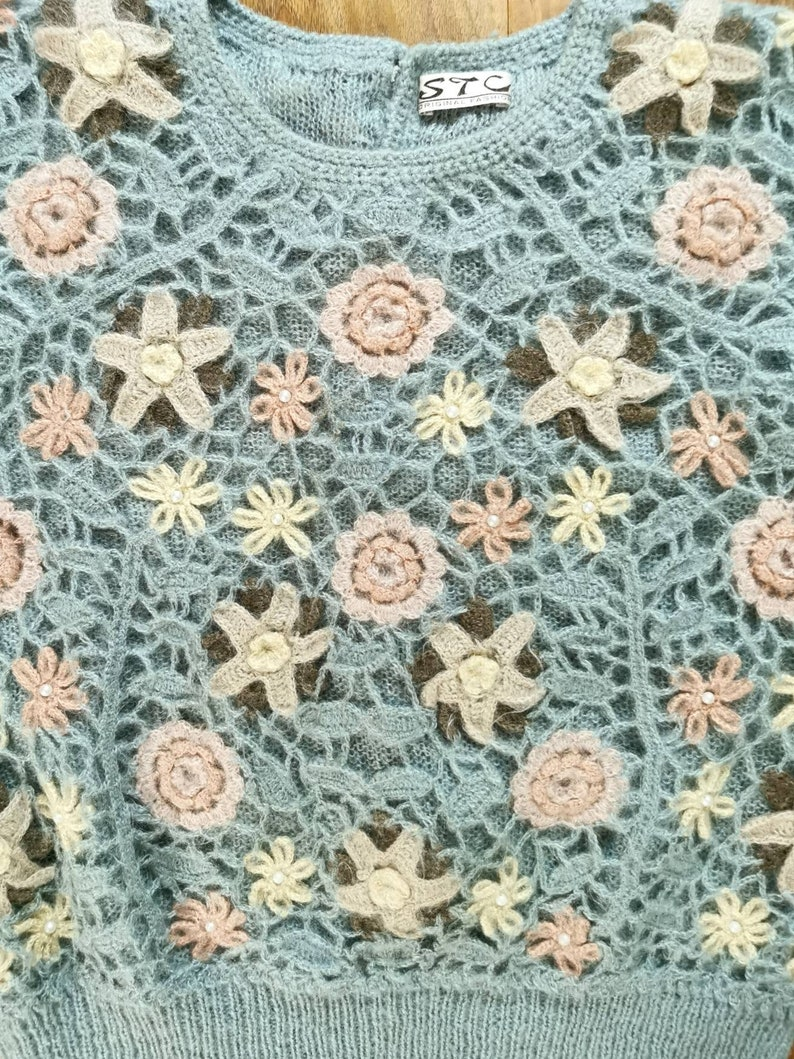 Mohair sweater crochet flowers boho top crochet sweater boho clothing 80s vintage cottagecore clothing beaded sweater baby blue