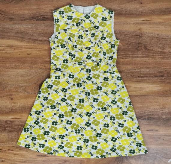 60s Floral Mini Dress - Mod Mini Dress - Yellow Fl