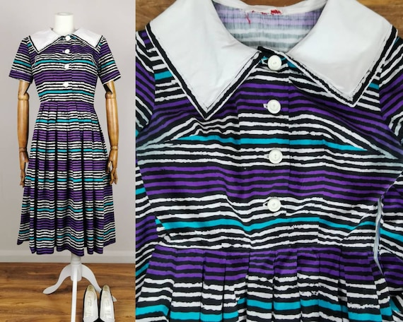 1950s Cotton Day Dress 50s Swing Dress Vintage 195