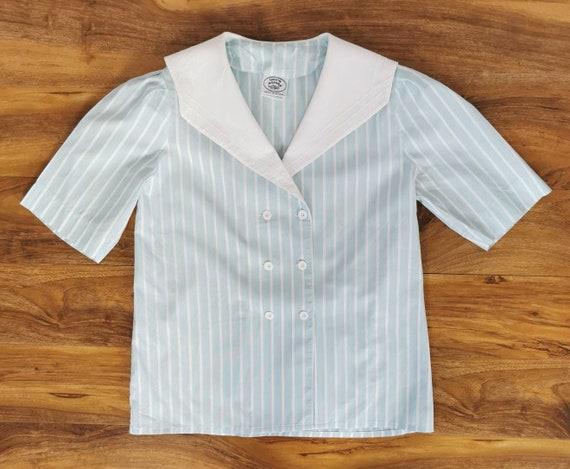 Vintage 80s Laura Ashley Sailor Blouse White Sailo