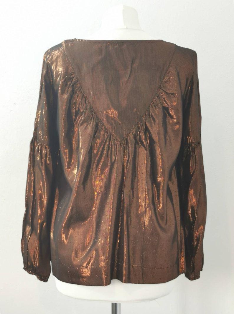 90s Vintage Top Bronze Blouse Metallic Evening Top Vintage Party Top