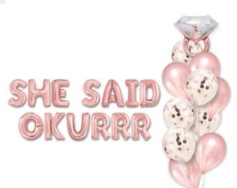 She Said Okurrr Balloon Banner Bridal Shower Decor Cardi Party She Said Yes! Bachelorette Party Decor Funny Bachelorette Decor