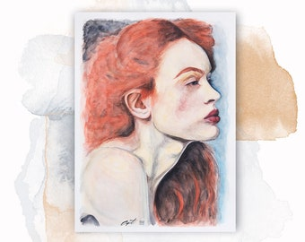 Face Woman Red hair   Watercolor on   unique piece   Original Watercolor Painting