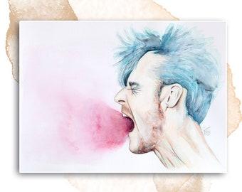 Man Screams   Watercolor on   unique piece   Original Watercolor Painting