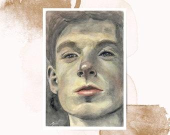 Boy's face   Watercolor on   unique piece   Original Watercolor Painting