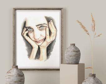 Woman's face on   Watercolor on   unique piece   Original Watercolor Painting