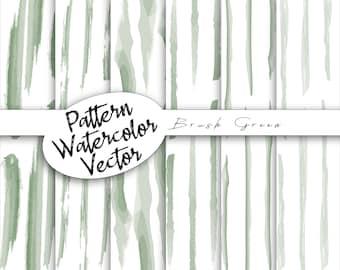 Vector Green Pattern | Watercolor digital cards, digital paper package doodles, digital scrapbooking, commercial use, brush